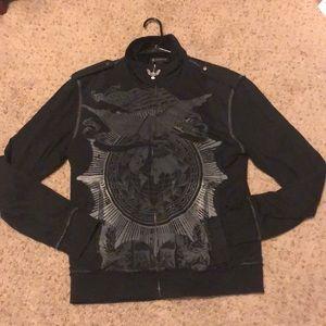 INC Black Zip Up Sweater Size Large